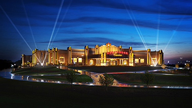 A view of Hollywood Casino in Toledo, Ohio, at night.