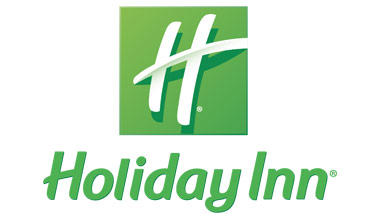 "A white ""H"" on a green square above the words ""Holiday Inn"" written in green."