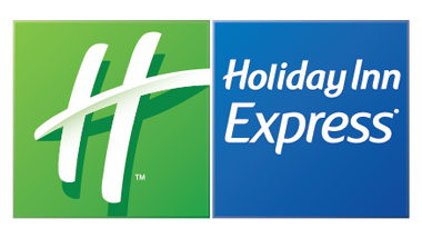 "A white ""H"" on a green background next to a blue square with the words ""Holiday Inn Express"" written on it in white."