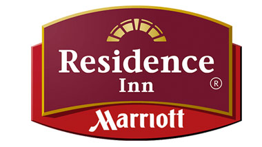 "The words ""Residence Inn"" on a magenta block on top of a red block with the word ""Marriott"" in white."
